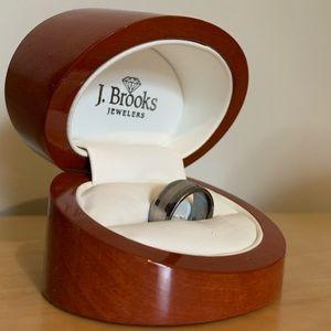 Men's Tungsten Platinum Inlay Ring Size:10